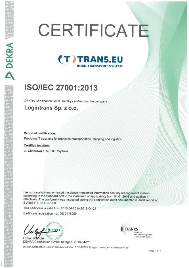 Trans.eu със сертификат ISO 27001
