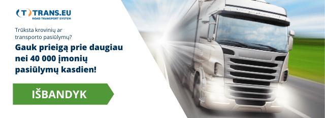 Trūksta krovinių ar transporto pasiūlymų? Gauk prieigą prie daugiau nei 40 000 įmonių pasiūlymų kasdien!
