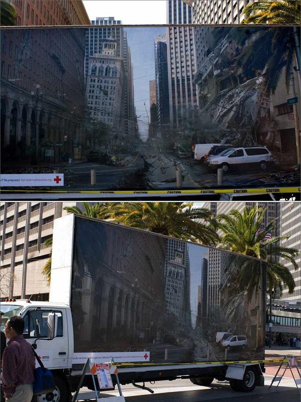 Czerwony krzyż reklama ostrzegająca przed trzęsieniami ziemi