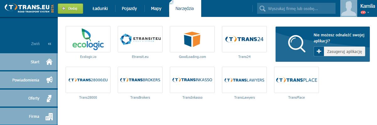 aplikacja system trans.eu online
