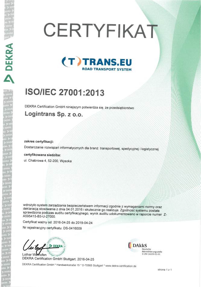 certyfikat iso27001 dla trans.eu