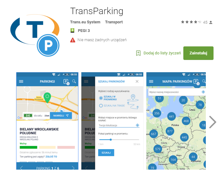 transparking w google play