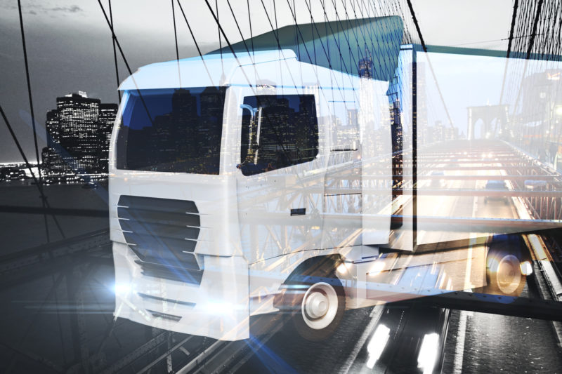 Big truck on abstract city background. Transportration concept