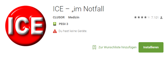 """ICE – """"im Notfall – Android-Apps auf Google Play"""