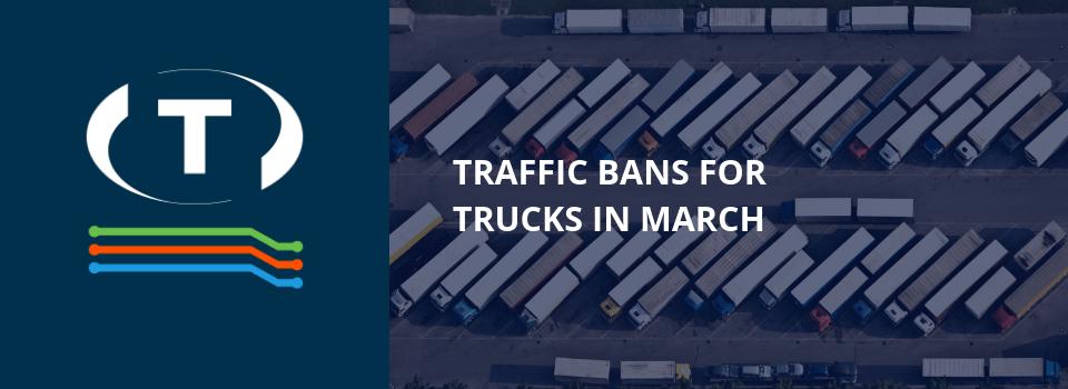 Dopravní zákazy pro nákladní automobily v březnu