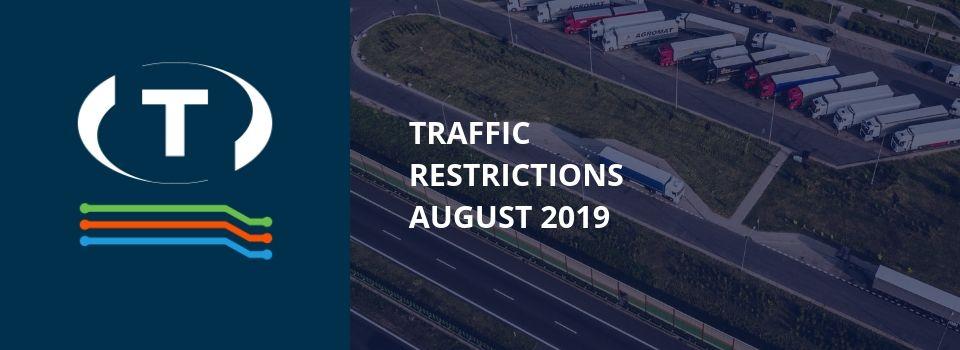 Teherautókra vonatkozó forgalmi korlátozások a szomszédos országokban (2019 augusztus)