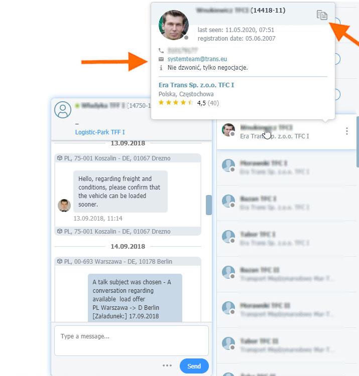 New, extended contact search module
