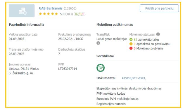 """Sertifikatas yra matomas įmonės paskyroje """"Trans.eu"""" platformoje"""
