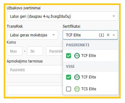 """Pasiūlymų filtravimas pagal sertifikatus """"Trans.eu"""" platformoje"""