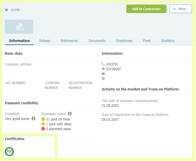 The certificate is visible in the company's account on the Trans.eu platform.